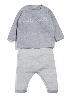 mamas-papas-unisex-hello-world-knitted-2-piece-set-grey