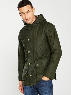 barbour-lightweight-hooded-bedale-wax-jacket-olive