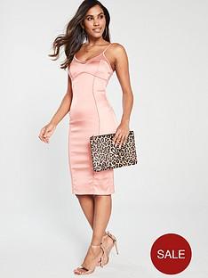 the-girl-code-stretch-satin-illusion-midi-dress-coral