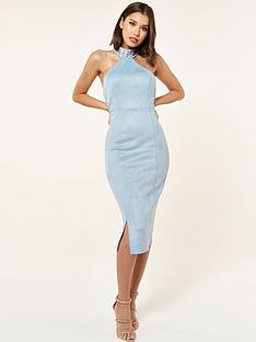 the-girl-code-suede-midi-dress-with-neck-studs-blue