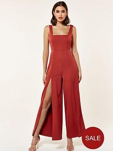the-girl-code-woven-split-detail-jumpsuit-maroon