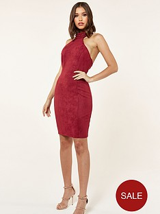 the-girl-code-suede-midi-dress-with-neck-studs-red