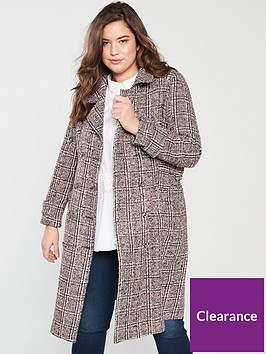 lost-ink-plus-checked-formal-coat-with-buckles-multi
