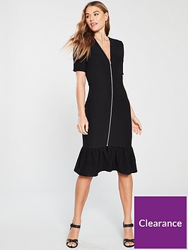 lost-ink-lost-ink-zip-front-bodycon-midi-dress-with-fluted-hem