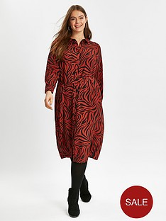 evans-zebra-print-shirt-dress-red