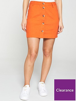 v-by-very-linen-button-through-skirt-orange