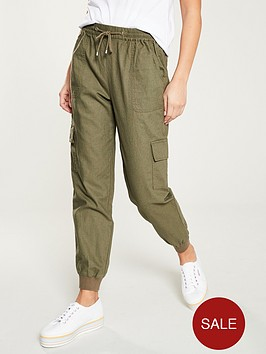 v-by-very-linen-shirred-jogger-with-cargo-pockets-khaki