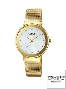 lorus-lorus-white-with-gold-and-crystal-set-dial-gold-plated-stainless-steel-mesh-strap-ladies-watch