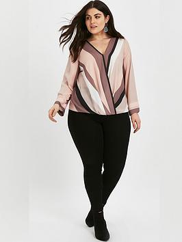 evans-stripe-v-neck-blouse