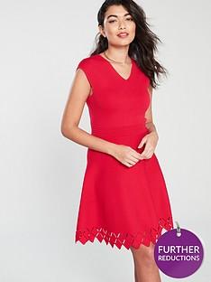 ted-baker-tannia-stitch-detail-v-neck-skater-dress-red