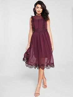 f0fb9079c758d Ted Baker Porrla Frill Lace Midi Dress - Burgundy