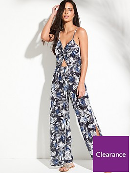 v-by-very-beach-twist-front-jumpsuit-blue-print