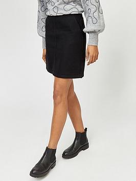 warehouse-denim-a-line-skirt-black