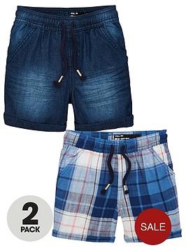 mini-v-by-very-boys-2-pack-denim-amp-check-pull-on-shorts-multi