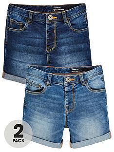 mini-v-by-very-boys-2-pack-skinny-turn-up-edge-denim-shorts-blue