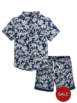 v-by-very-boys-2-piece-palm-print-shirt-and-shorts-co-ord-set-bluewhite
