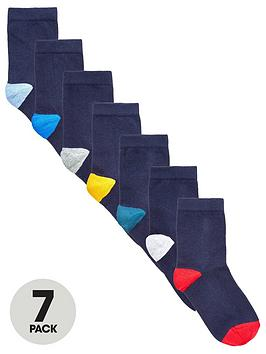 V by Very V By Very 7 Pack Contrast Colour Heel And Toe Socks - Multi Picture