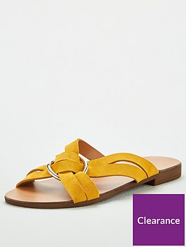 v-by-very-harem-leather-ring-detail-crossover-flat-sandal