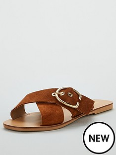 v-by-very-harriet-leather-buckle-cross-strap-sliders-tan