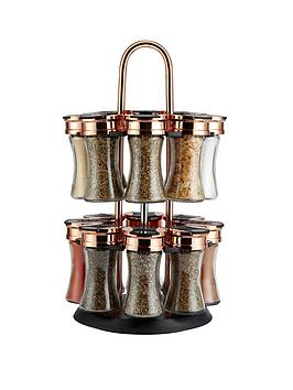 Tower Tower Rose Gold And Black Rotating Spice Rack And 16 Jars With Spices Picture