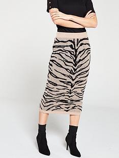 cd9618e1ef758 V by Very Zebra Co-Ord Knitted Midi Skirt - Tobacco