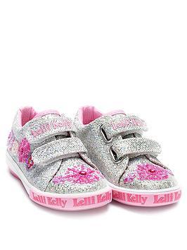 lelli kelly glitter daisy touch fastening shoe
