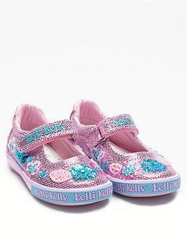 lelli kelly glitter daisy dolly shoes - pink