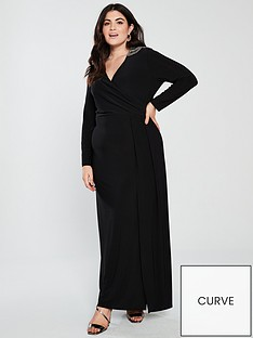 monsoon-curve-taylor-trim-shoulder-dress-black