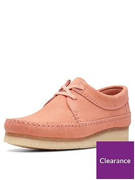 clarks-originals-weaver-flat-shoes-coral-suede
