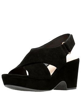 Clarks Clarks Maritsa Lara Suede Wedge Sandals - Black Picture