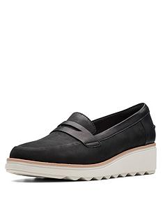 c02a3efcfc36ac Clarks Sharon Ranch Wedge Loafer Shoes - Black