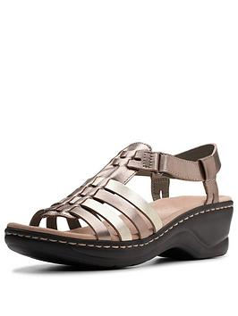 clarks-lexi-bridge-flat-sandals-metallic