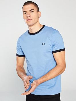 d643357b Fred Perry Ringer T-Shirt - Sky Blue   littlewoods.com