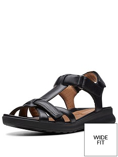 clarks-unstructured-un-adorn-vibe-wide-fit-flat-sandals-black