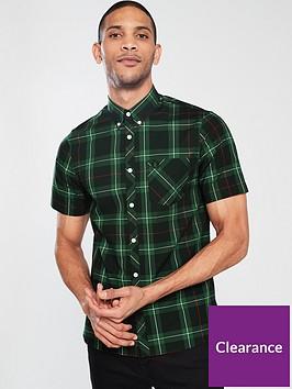 fred-perry-tartan-short-sleeved-shirt-navy