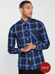 fred-perry-tartan-long-sleeve-shirt-royal-blue
