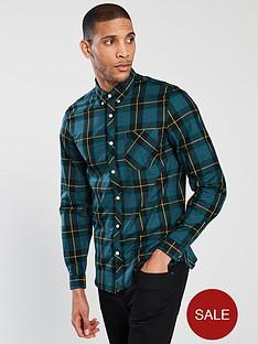 fred-perry-tartan-long-sleeve-shirt-navy