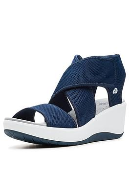 3c49d1264914 Clarks Cloudsteppers Step Cali Palm Wedge Sandals - Navy ...