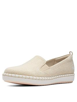 Clarks Clarks Cloudsteppers Step Glow Slip Espadrilles - Soft Gold Picture