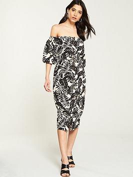 v-by-very-bardot-button-through-linen-dress-printed