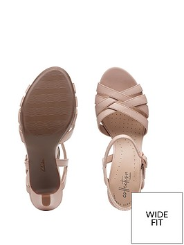 dfc7808e998 ... Clarks Adriel Wavy Wide Fit Heeled Sandals - Dusty Pink. View larger