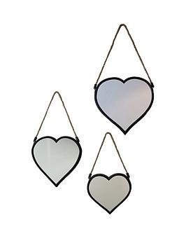 ARTHOUSE  Arthouse Set Of 3 Heart Mirrors