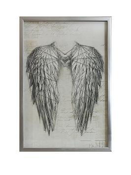 ARTHOUSE Arthouse Angel Wings Silver Metallic String Art Framed Print Picture