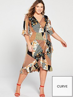 8e25516cc64 Girls On Film Curve Midi Wrap Dress with Frill Front - Scarf Print