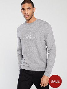 fred-perry-embroidered-sweatshirt-grey-marl