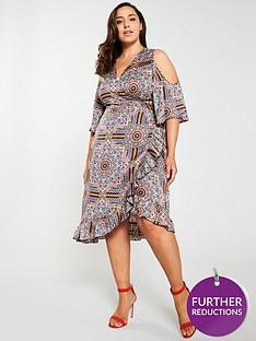 girls-on-film-curve-cold-shoulder-printed-wrap-midi-dress-multi