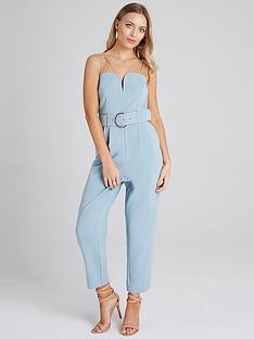 e729bdce06cf Girls on Film Wide Belted Strappy Tapered Leg Jumpsuit - Sage Green