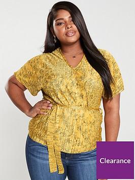 girls-on-film-curve-printed-plisse-belted-top-mustard