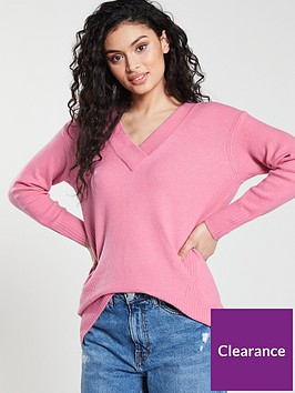 river-island-v-neck-jumper-pink