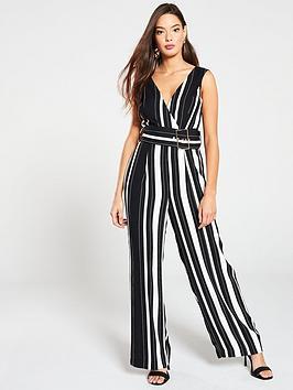 river-island-river-island-stripe-belted-jumpsuit-black